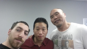 Jonathan Fader, Borhan Jiang and Paul Cheng. Notice the size difference.